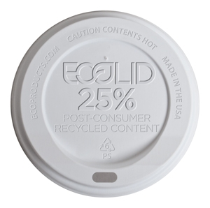 Ecolid® Large White Hot Cup Lid, fits 10-20oz - 1000pcs